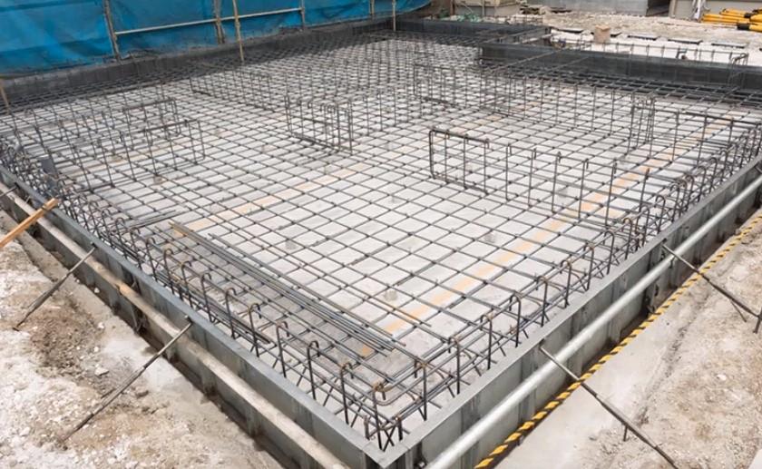 Radier durante etapa construtiva