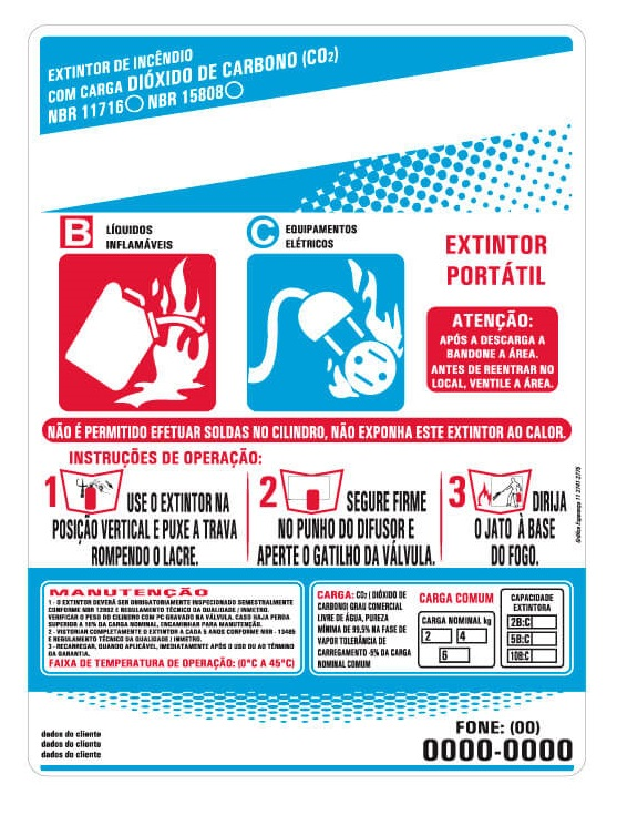 Rótulo de um extintor de gás carbônico.