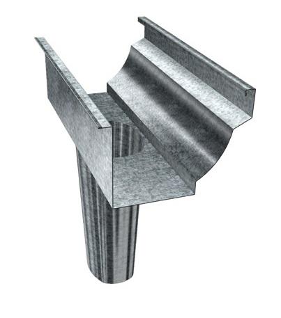 Exemplo de uma saída de calha de aço galvanizado.