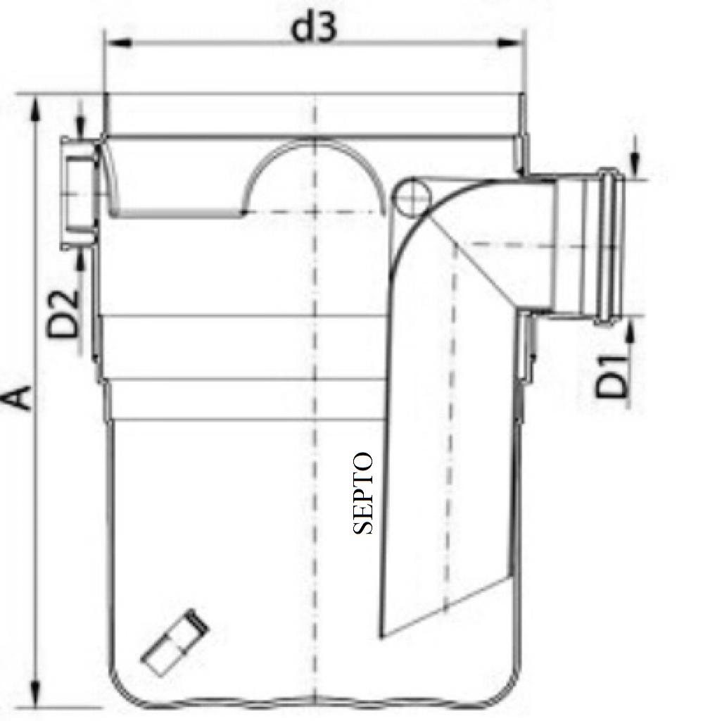 Dimensões de uma caixa de gordura: altura (A), diâmetro interno (d3), diâmetro da tubulação de entrada (D2) e diâmetro da tubulação de saída (D1)