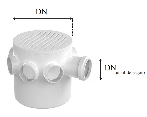 Diâmetro nominal da caixa sinfonada (DN) e diâmetro do ramal de esgoto (DN ramal de esgoto).