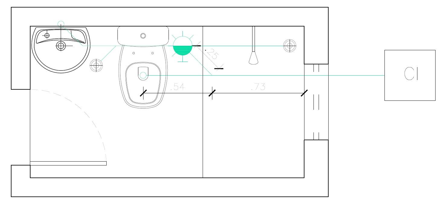Distância entre os últimos desconectores e o limite do banheiro