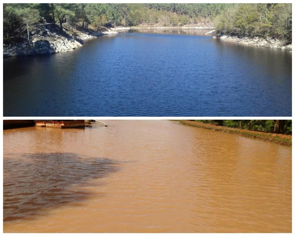 Comparação entre Rio com Água turva e Rio com Água limpa