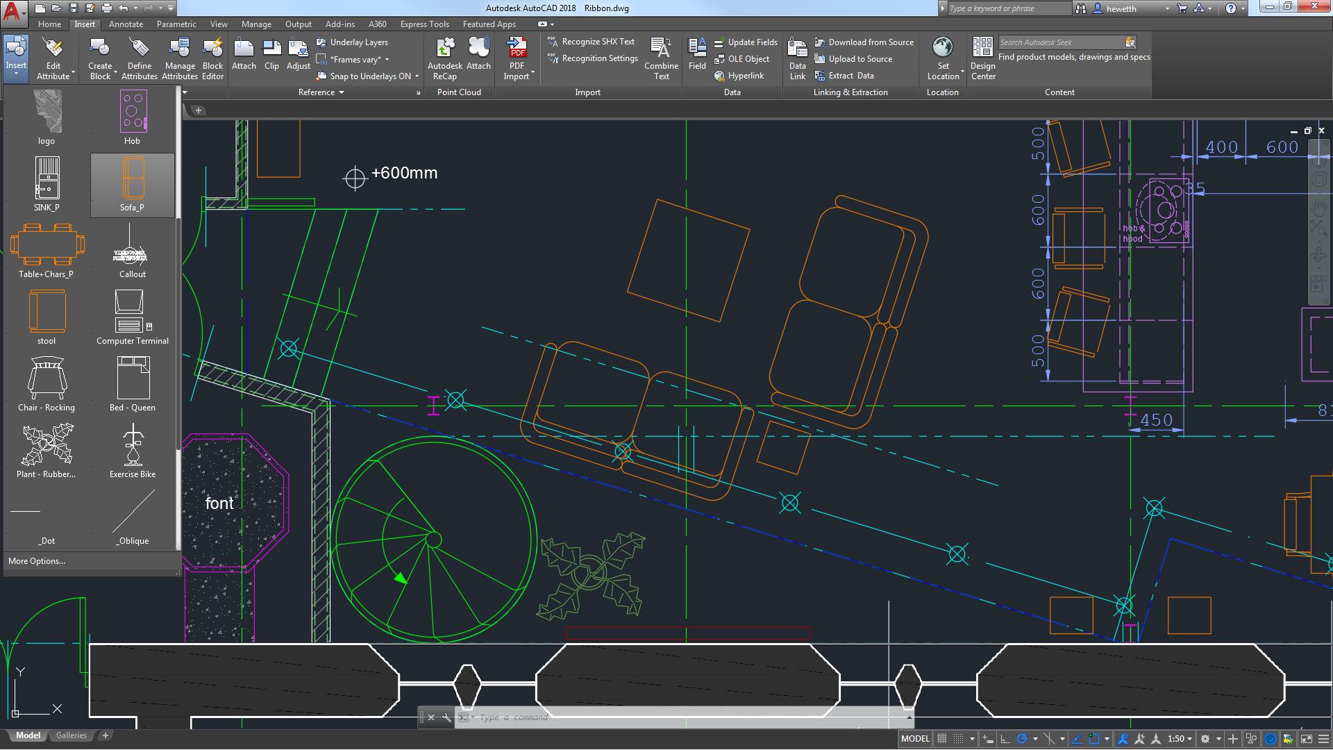 Interface do Software de Engenharia AutoCAD