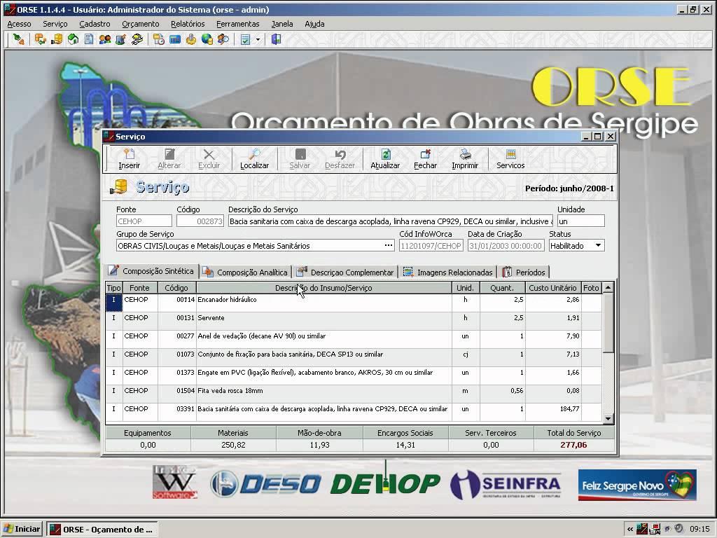 Interface do Software de Engenharia ORSE