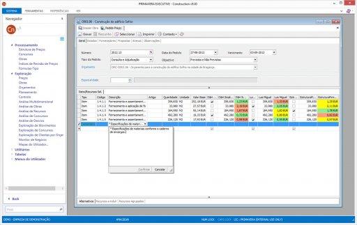 Interface do software de engenharia Primavera Construction