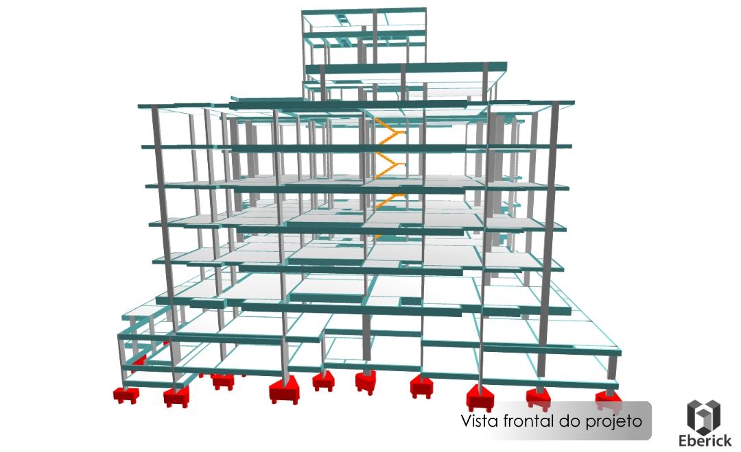 Projeto estrutural realizado com auxílio do software de engenharia Eberick