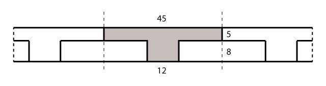 Área de concreto da nervura.