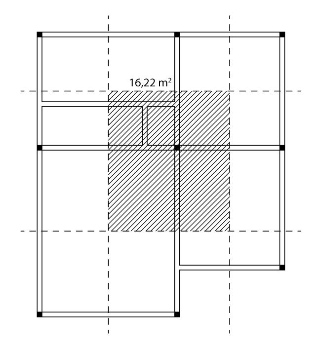 Área de influência do pilar intermediário