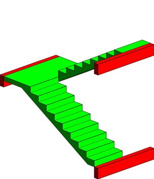 Imagem 3D da escada estudada