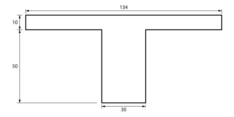 Geometria da viga T a ser dimensionada