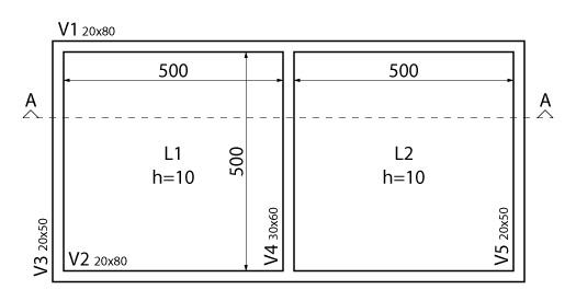 Pavimento estudado para o dimensionamento da viga T