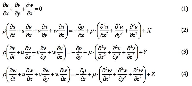 Eq. da conservação da massa e eq. do movimento em x, y e z