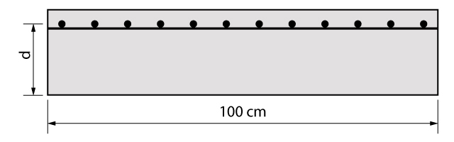 Seção de uma laje em balanço