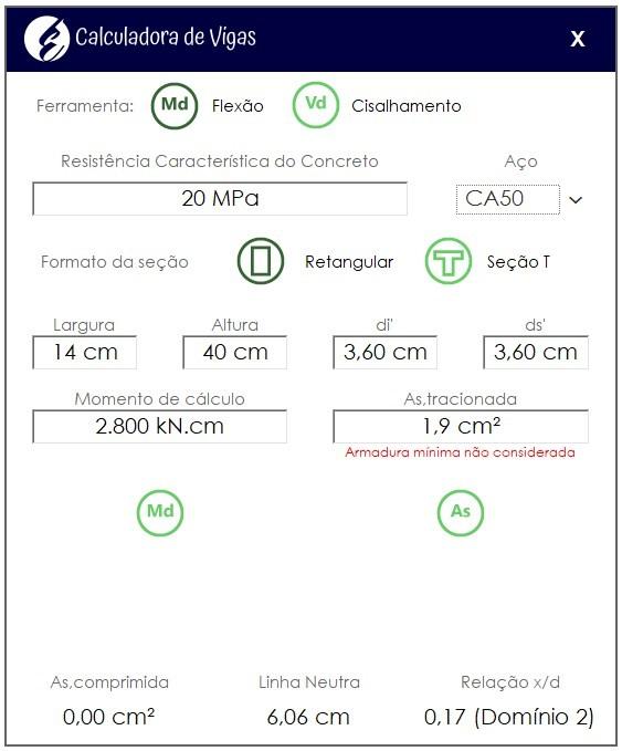 Dimensionamento de vigas com a Calculadora de Vigas