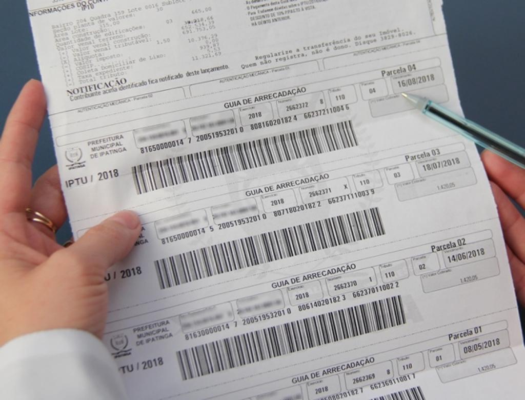 Exemplo de um boleto de cobrança de IPTU