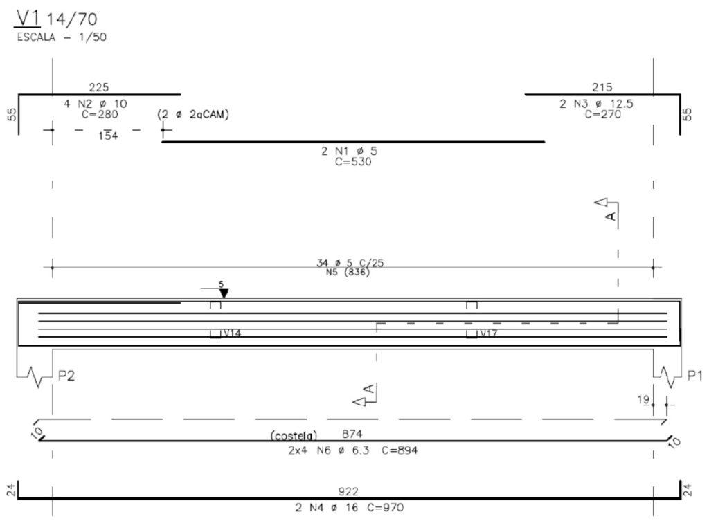 Desenho de armação de viga em projeto estrutural
