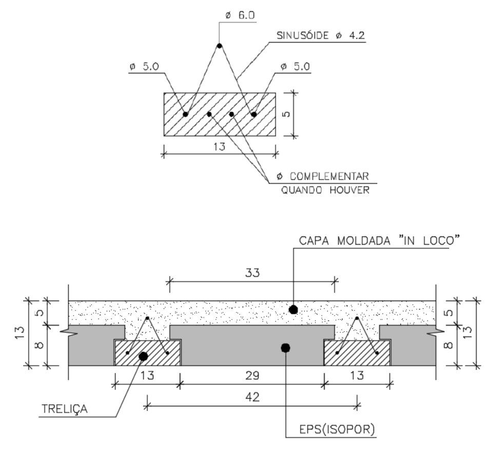 Corte esquemático da laje treliçada em projeto estrutural