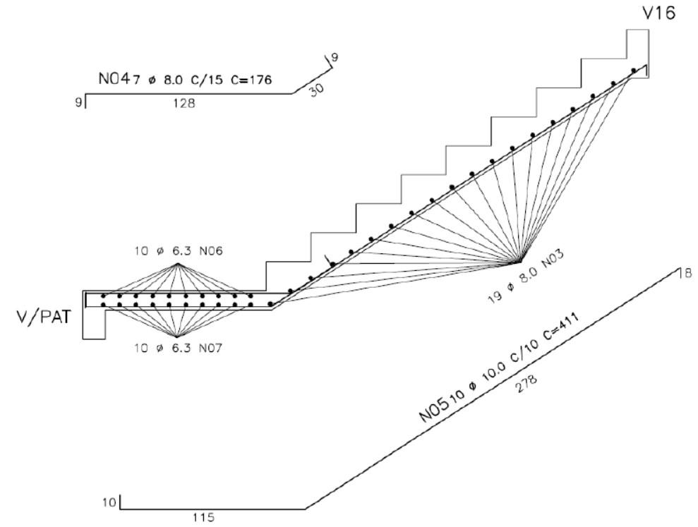 Armação de escada em projeto estrutural