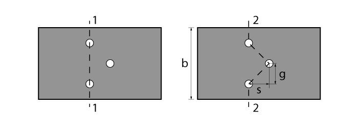 Área líquida para seção com furos