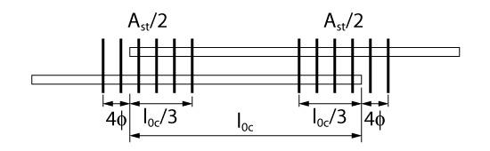 Armadura transversal na emenda de barras comprimidas