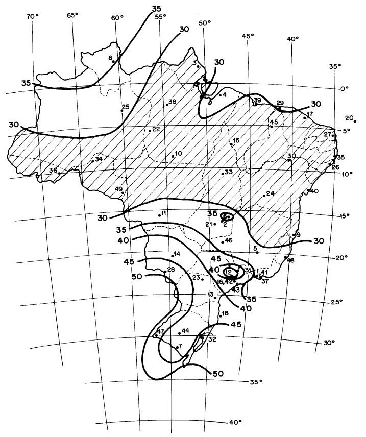 Isopletas de velocidade básica do vento