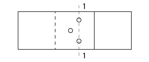 Percurso 1-1 para cálculo da seção líquida