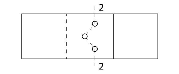 Percurso 2-2 para cálculo da seção líquida